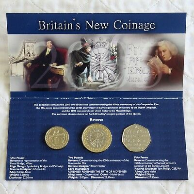 2005 BRITAIN'S NEW COINAGE COMMEMORATIVE 3 COIN B/UNC PACK -  sealed pack