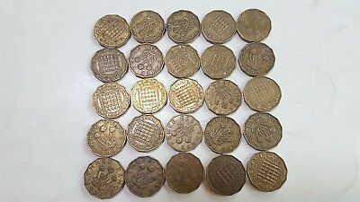 Great Britain (UK) 3 Pence Lot of 25 Different Dates in a Range 1937 - 1967