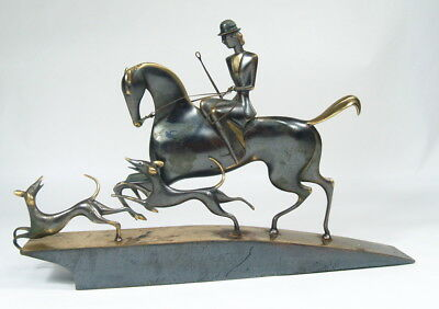 Vtg Stylized Art Deco Bronze Hunt Group Horse Dogs Hagenauer era Portugal Made