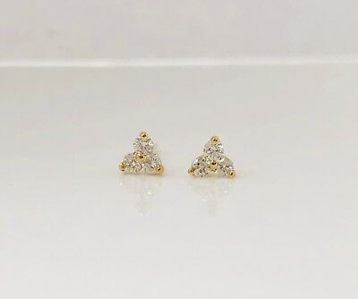 Three stone round trio diamond tiny stud earrings 14k yellow gold 0.09ct