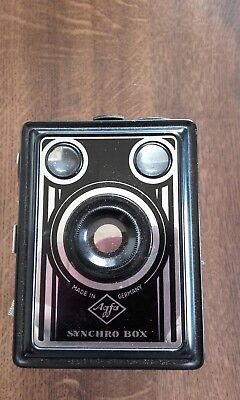 Vintage Agfa Synchro box camera + Canvas Case + instruction booklet.