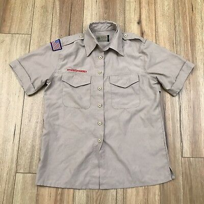 Boy Scouts of America Official Womens Brown Uniform Short Sleeve Shirts Sz Small