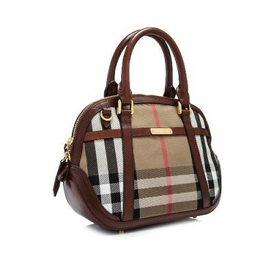 894ca73cf4e7 NWT Burberry Bridle House Check Small Orchard Bowling Bag in Dark Tan  3853773