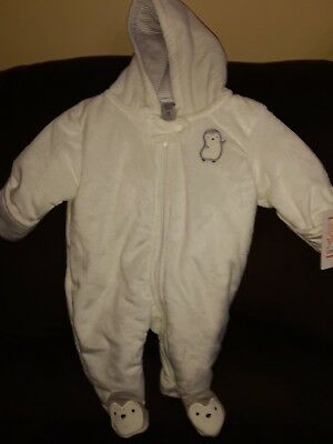 newborn winter snow suit penguins white just one you nwt