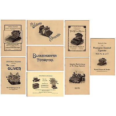 Lot of 8 TYPEWRITER INSTRUCTION MANUALS Dan Post Era Reproductions Antique Vtg