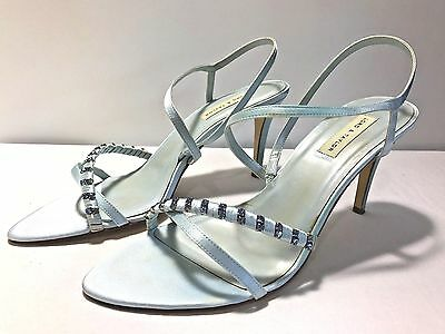 214fddb8cc3 LORD   TAYLOR Powder Blue Satin Embellished Strappy Sandal Size 9M Leather  Sole