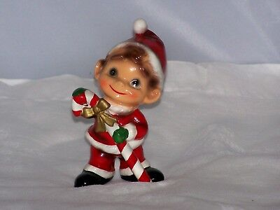 Josef Originals Elf With Candy Cane Adorable Repaired