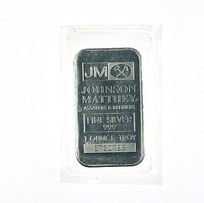 1oz .999 Fine Silver JM Johnson Matthey Sealed Bar Out Of Production