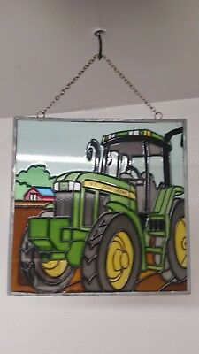 """Beautiful stained glass John Deer tractor window decoration 7""""/7""""in"""