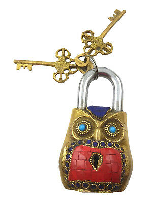 Beaded Owl Engraved Vintage Antique Style Handmade Solid Brass Padlock With Keys