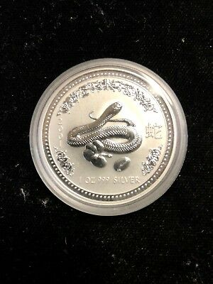 2001 Australia Year of the Snake Silver $1 Lunar Series .99c NO RESERVE