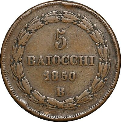 1850 Italy Papal States, Large Copper 5 Baiocchi, KM# 1346