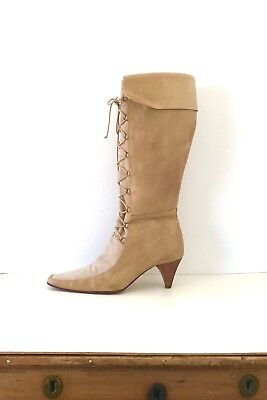 Vintage 80's Beige Leather Ecru Suede Lace Up Tall Boots Smak💋 Brazil 38