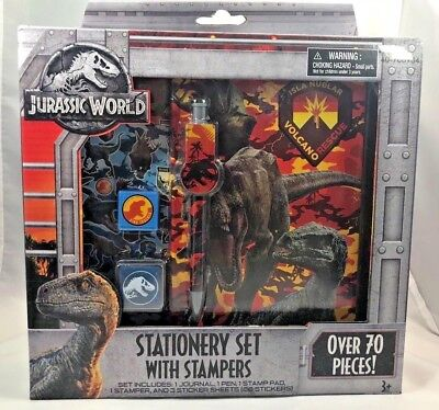 Jurassic World Fallen Kingdom Boxed Stationary Set With Stampers-Over 70 Pieces