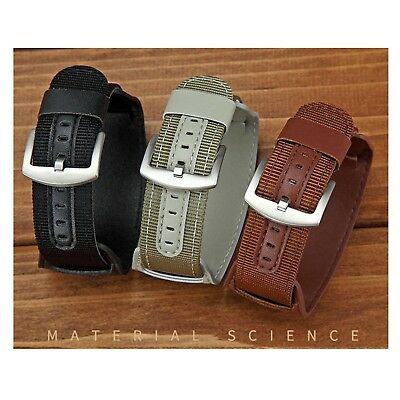 18-24mm Nylon Watch Band PU Leather Wrist Strap Watchband Canvas Fabric Bracelet