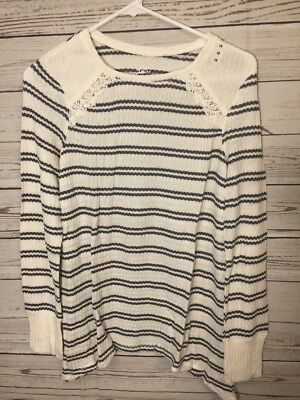 Justice Girls Long sleeve Shirt Top Cream/gray. Size 18