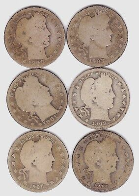 Barber Quarter Dollar Set of Six US Silver Coin 25 Cents 1901 -1913 D