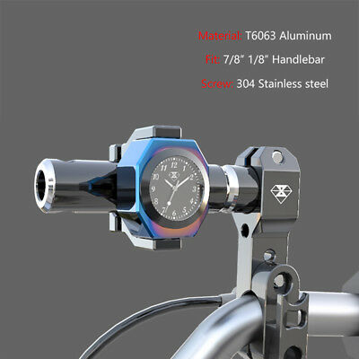 22mm CNC Billet Handlebar Bars Mount Clock Watch Thermometer For Ducati 28mm