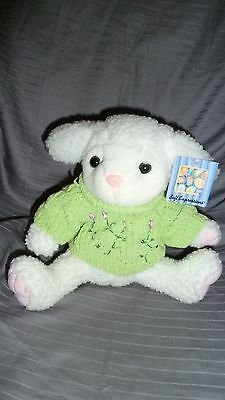 "NEW DAN DEE PLUSH WHITE LAMB SHEEP with Green Sweater 9"" tall in seat position"