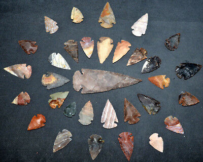 *** 32 pc lot Flint Arrowhead OH Collection Project Spear Points Knife Blade ***