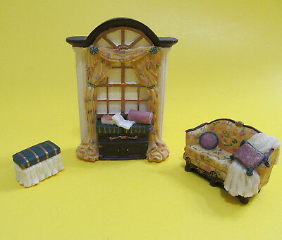 Avon Victorian Miniature Furniture  Music Room Polyresin Collectible 3 pcs