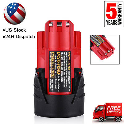For Milwaukee M12 Li-ion 48-11-2420 Compact Battery Pack 12Volt 48-11-2402 2.5AH