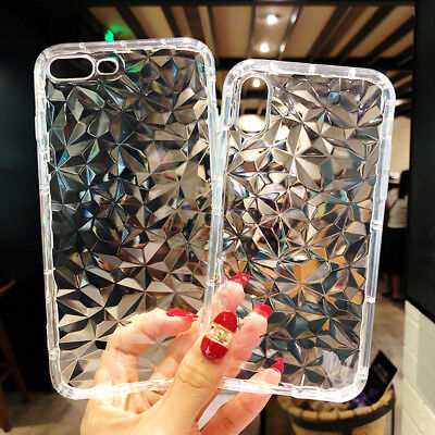 For iPhone XS Max 7 8 Plus 3D Diamond Pattern Crystal Soft TPU Clear Case Cover
