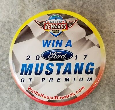 Waffle House 2017 Ford Mustang GT Giveaway Race for Rewards Button Pin