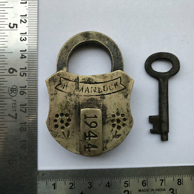Old or antique solid brass small sized padlock lock with key RARE shape