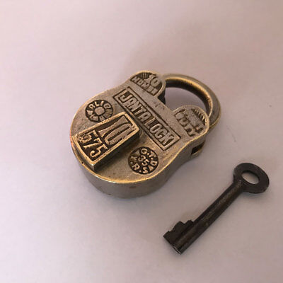 Old or antique solid brass padlock lock key unusual shape trick or puzzle