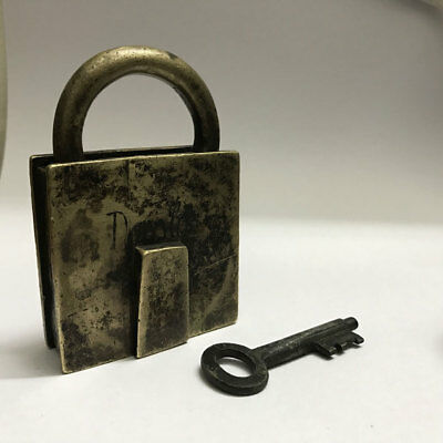 Old vintage or antique solid brass padlock lock key unusual shape Dass Lock