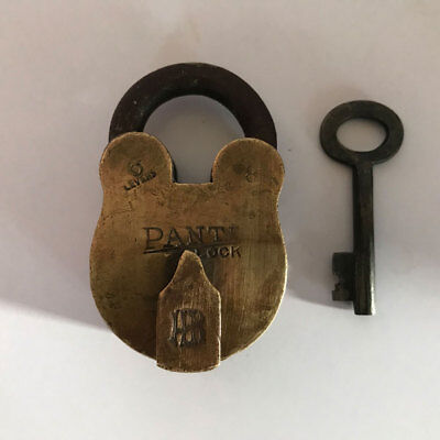 (1) Old antique solid brass padlock lock with key RARE shape rare shaped