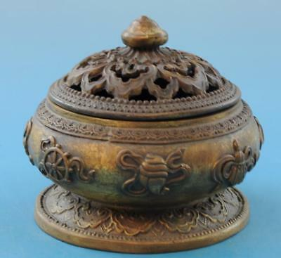 Chinese old fengshui copper hand-carved eight treasures incense burner f01