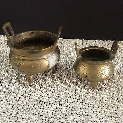 "Lot of 2 Vintage Asian Hand Made Collectable Miniature Brass Pots 3"" x 3 1/2"""