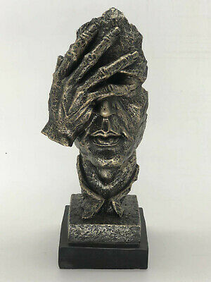 Abstract Modern Art Male Face Mask Bronze Effect Sculpture Figurine Figure Deal