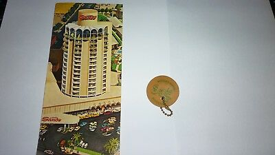 Vintage Lot Of 2 Sands Hotel Casino Postcard & Wooden Nickel Key Chain Souvenir