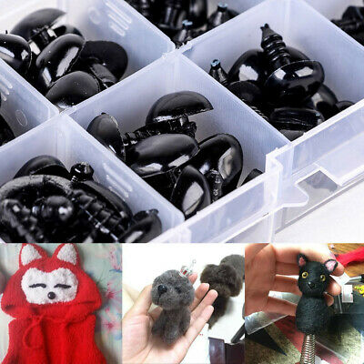 100X Black Plastic Safety Noses Stick Triangle Craft  For Doll Teddy Puppet Toy