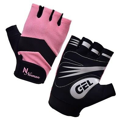 Pink/Black Ladies Gel Gloves Fitness Gym Wear Weight Lifting Workout Training