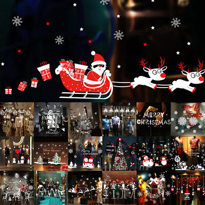 Christmas Vinyl Window Shop Removable Wall Sticker Snowflake Elk Art Xmas Decor