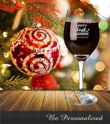 Personalised Christmas Gift Wine Glass Thankyou Gift Present Xmas Teacher Mum