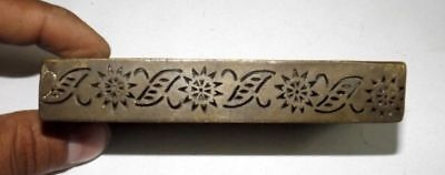 Old Brass Handcrafted Seal Dye Stamp Vintage Jali Cut Leaves Star Design Dye