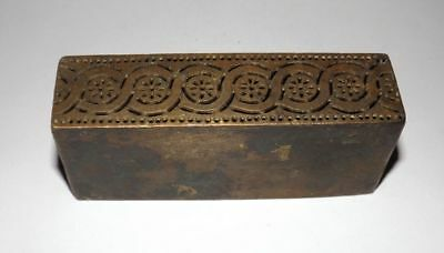 Old Brass Unique Handcrafted Seal Dye Stamp Vintage Jali Cut Rectangle Shape Dye