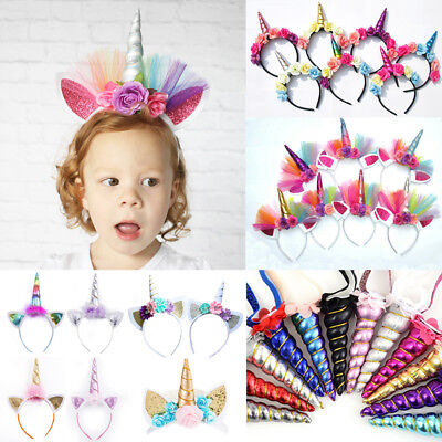 USA Magical Unicorn Horn Head Band Party Kids Hair Headband Fancy Dress Cosplay