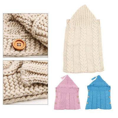 Newborn Baby Knit Crochet Swaddle Wrap Swaddling Soft Warm Blanket Sleeping Bag