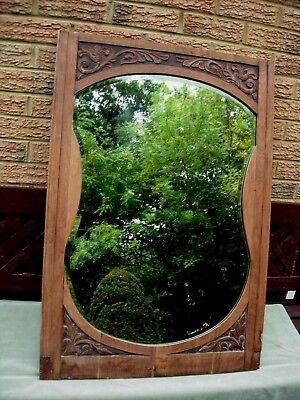 Large Antique Mirror Arts And Crafts Rustic Shaped Beveled Glass c.1900/10