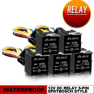 5Pcs DC 12V Car SPDT Waterproof Relay 5 Pin Harness Socket with Wires 30/40 Amp