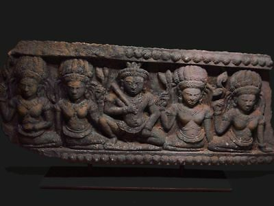 A KHMER SANDSTONE ARCHITECTURAL ELEMENT of SHIVA'S COURT, ANGKOR THOM 12th C