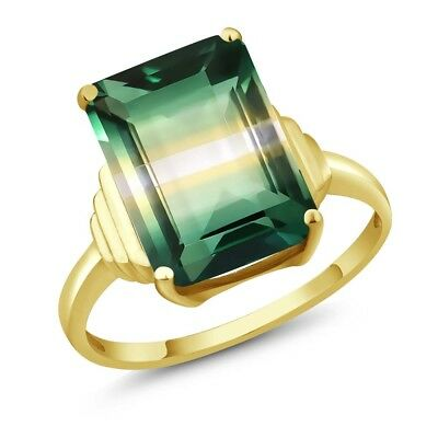 6.50 Ct Octagon Green Yellow Created Quartz 18K Yellow Gold Plated Silver Ring