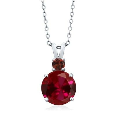 4.12 Ct Round Created Ruby Garnet 925 Sterling Silver Women's Pendant and Chain