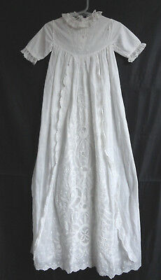 Vintage Broderie Anglaise Christening Robe - Fine Cotton - Charity Auction